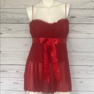 Moda Int'l Red Bustier w/Bow & Mesh Overlay SzS